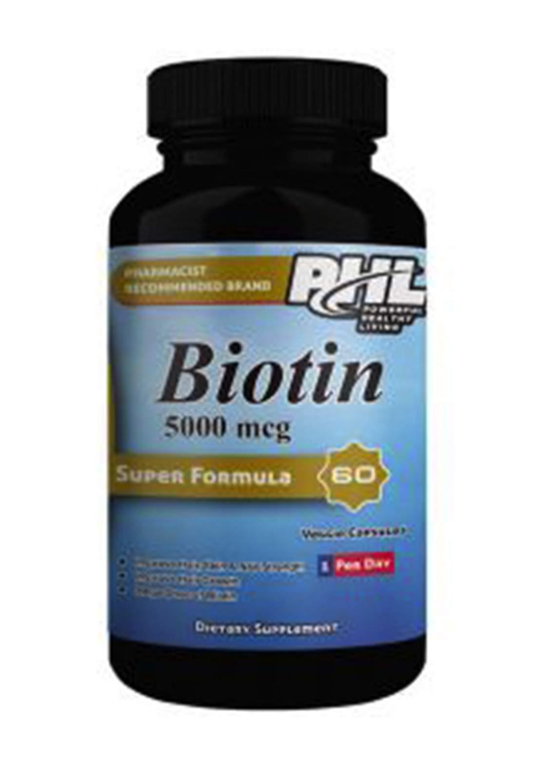 Phl Biotin 5000mcg - 60 Tablets مكمل غذائي