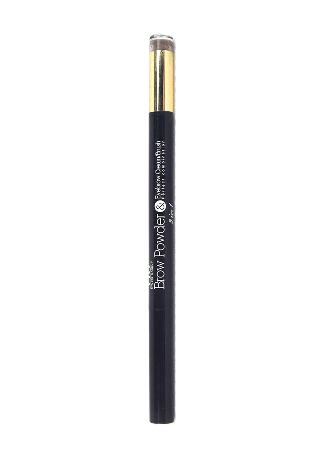 Vio Studio Makeup 3 in 1 Brow Powder , Eyrbrow Cream and Brush No.02 باودر حواجب