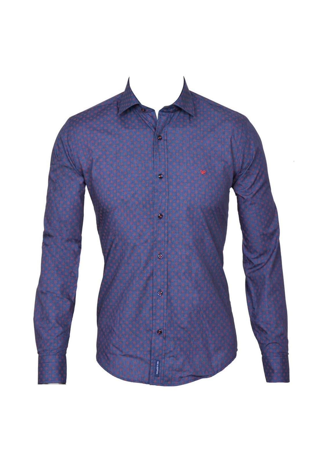 قميص رجالي بأكمام طويلة ازرق اللون