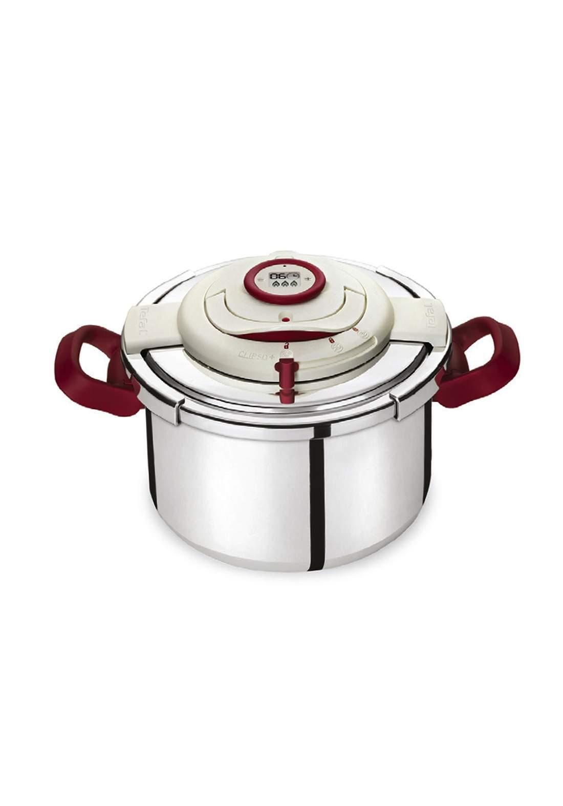 Tefal P4411462 Clipso Perfect Pressure Cooker 8L قدر ضغط مع مؤقت