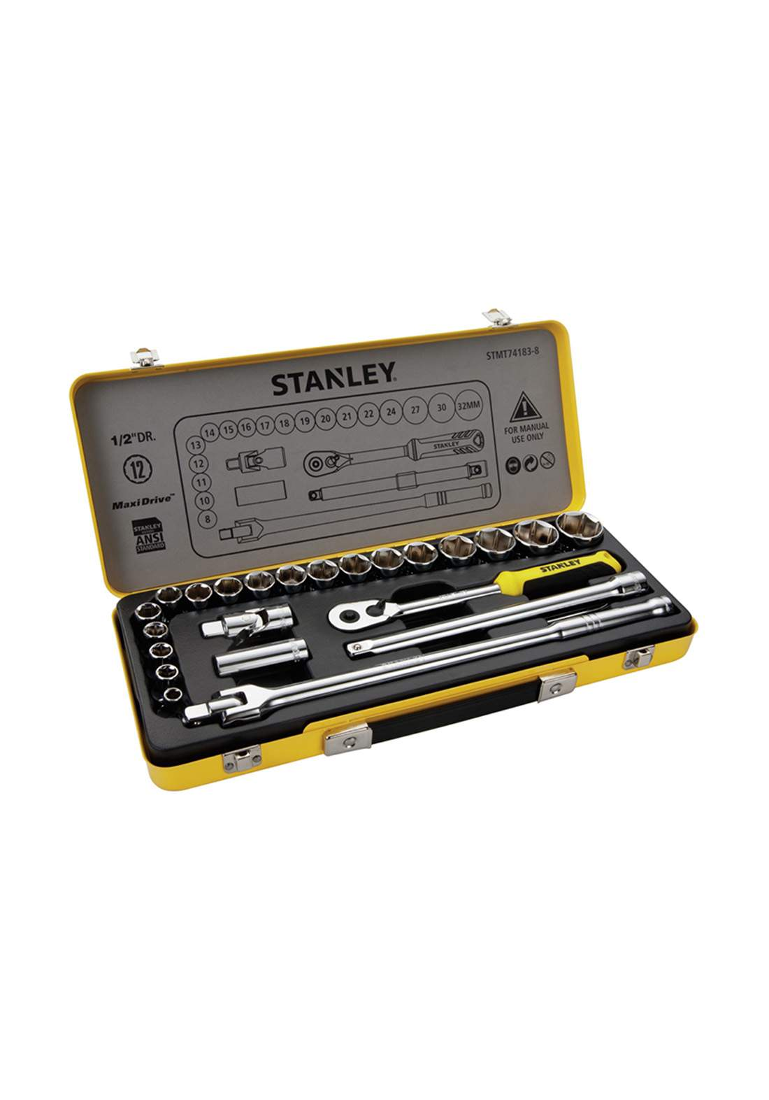 Stanley STMT74184-8 socket set in metal tin 24Pcs سيت لقم