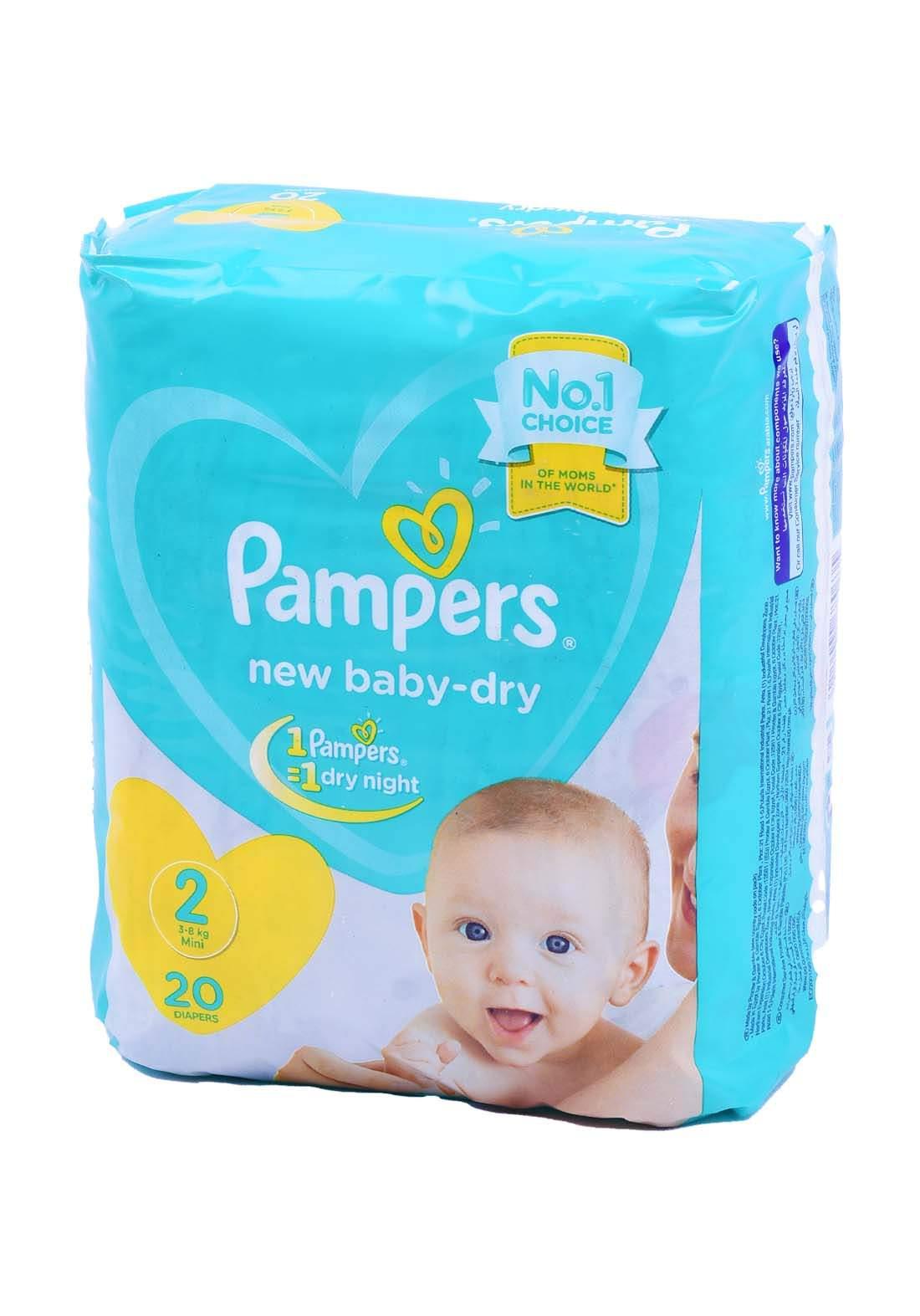 Pampers 3-8 Kg 20 Pcs حفاضات  بامبرز للاطفال عادي رقم 2