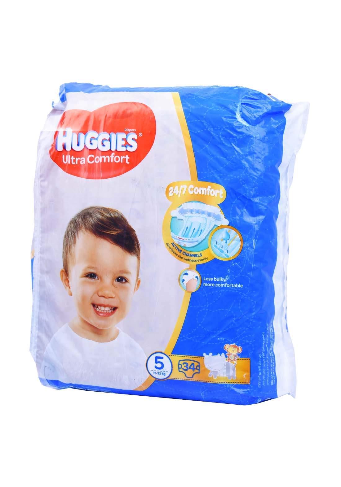 Huggies 12-22 Kg 34 Pcs حفاضات هجيز للاطفال عادي رقم 5