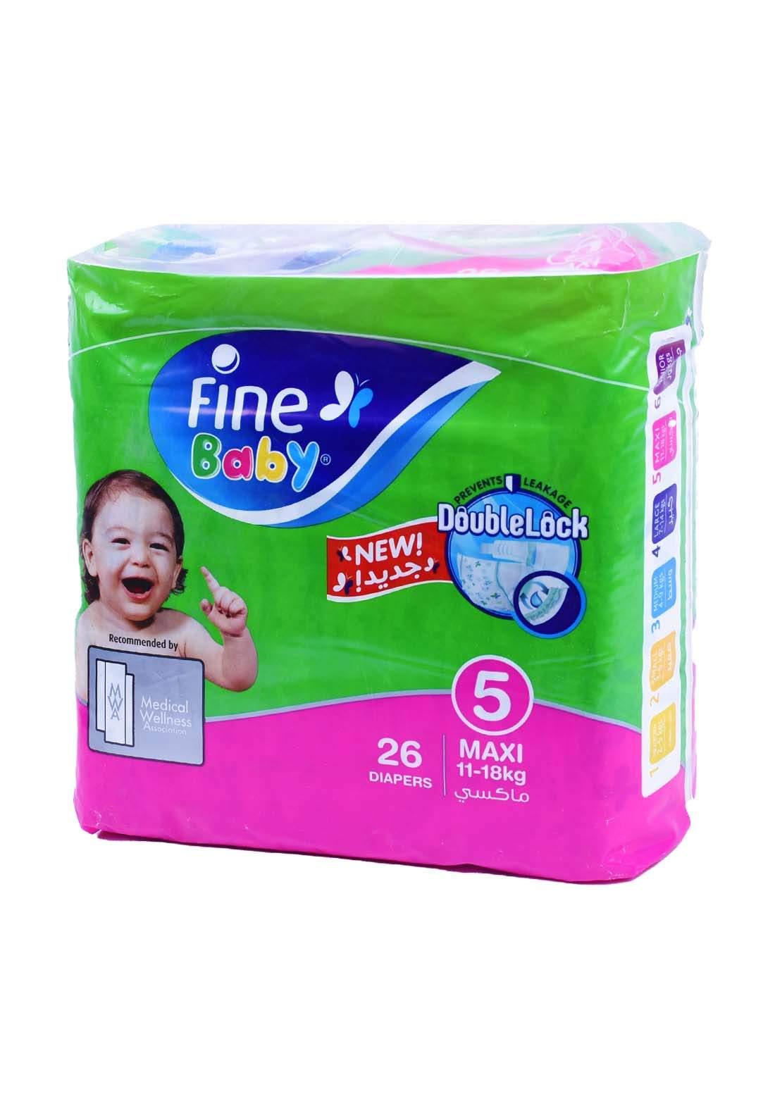 Fine Baby 11-18 Kg 26 Pcs حفاضات فاين بيبي للاطفال عادي رقم 5