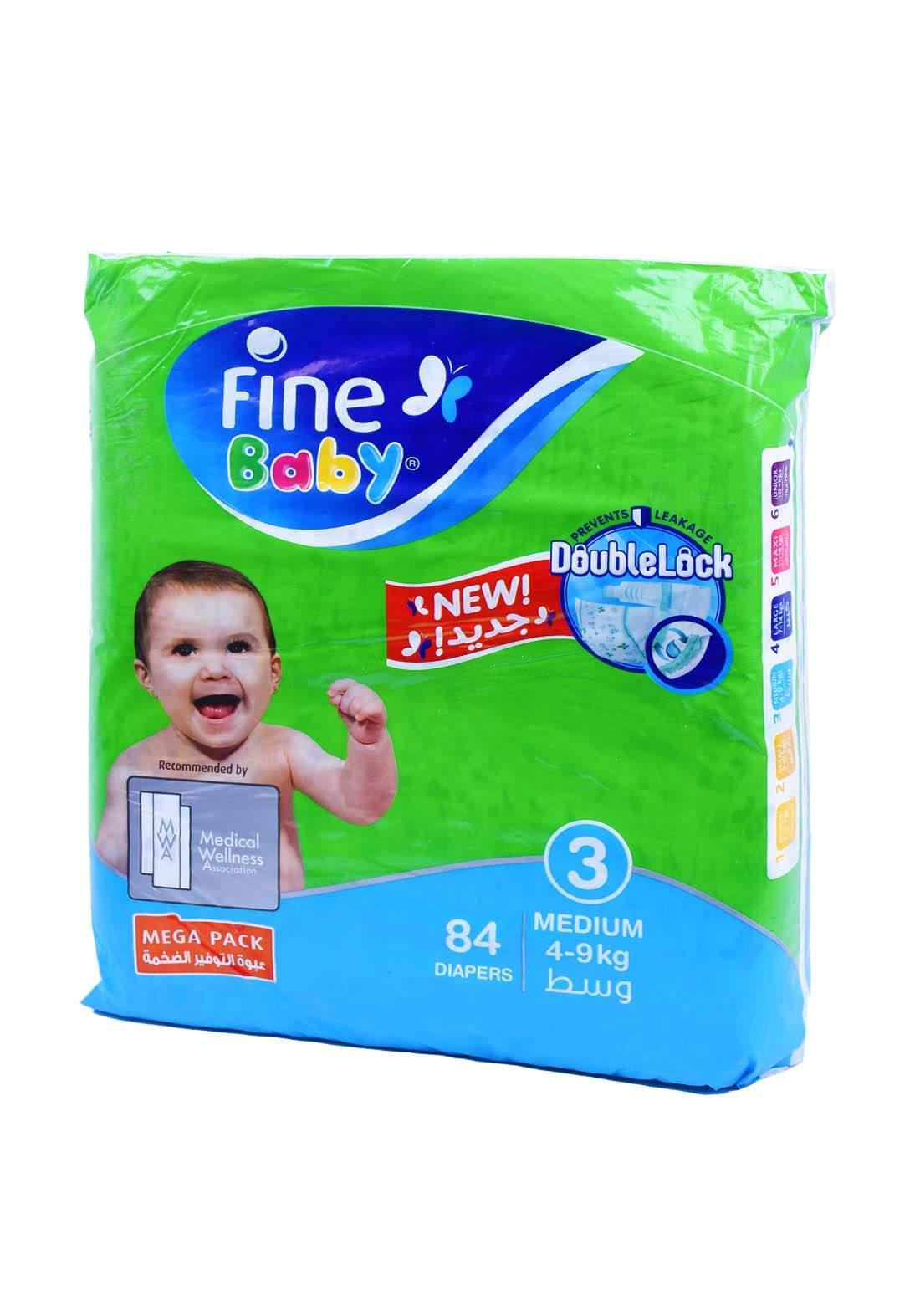 Fine Baby 4-9 Kg 84 Pcs حفاضات فاين بيبي للاطفال عادي رقم 3