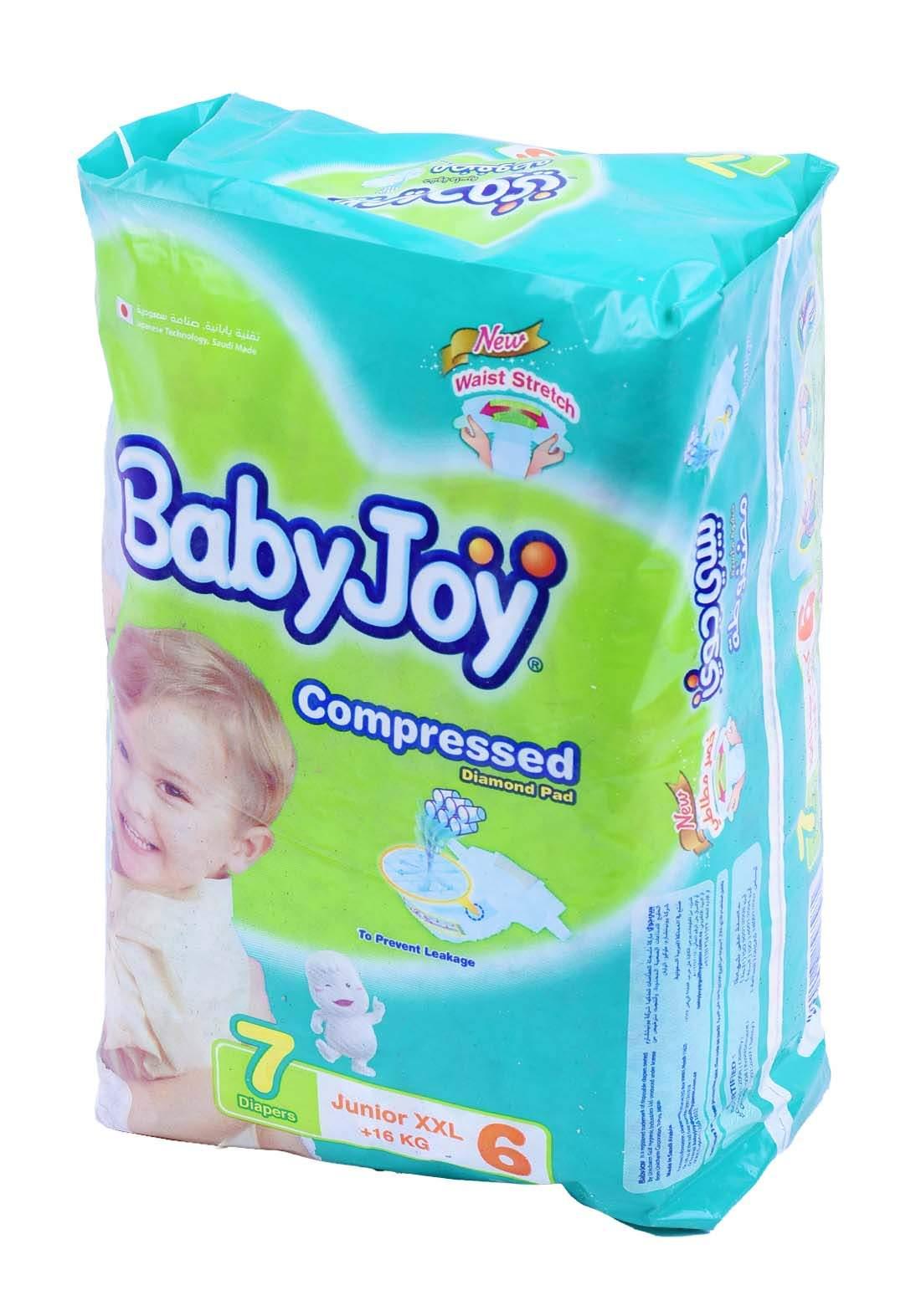 BabyJoy +16  Kg 7 Pcs حفاضات بيبي جوي عادي كبير جدا رقم 6