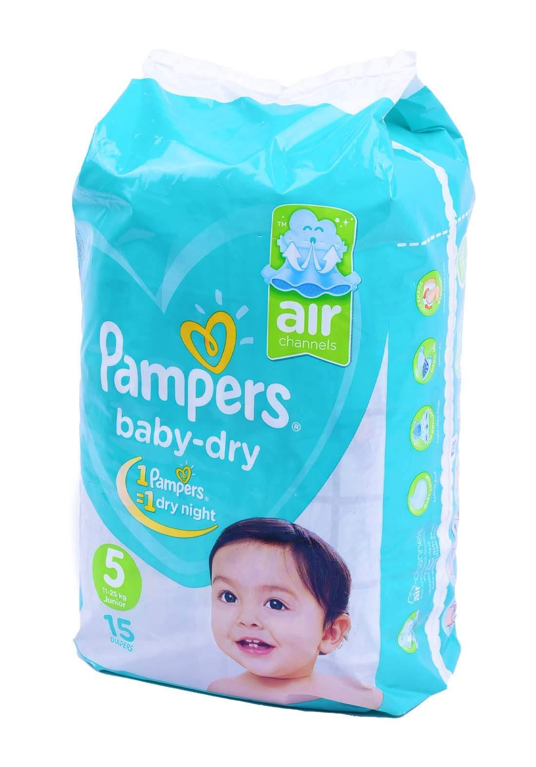 Pampers 11-25 Kg 15 Pcs حفاضات  بامبرز للاطفال عادي رقم 5