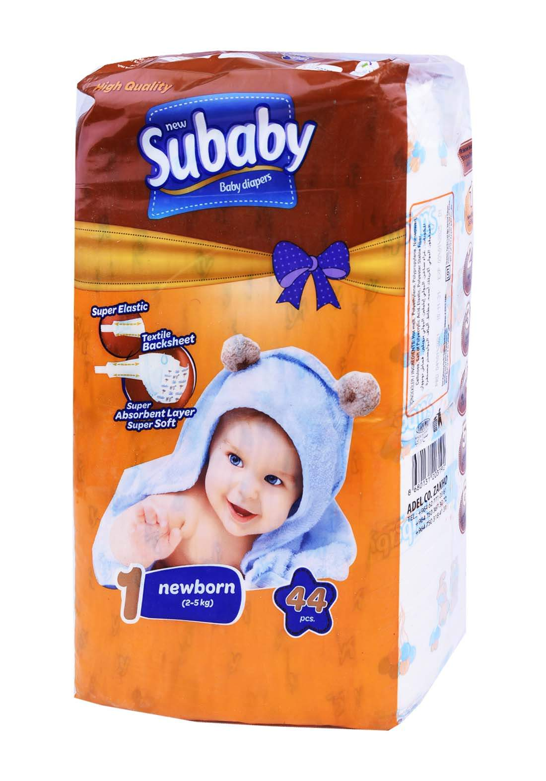 Subaaby 2-5 kg 44 Pcs حفاضات سو بيبي للاطفال رقم 1 عادي