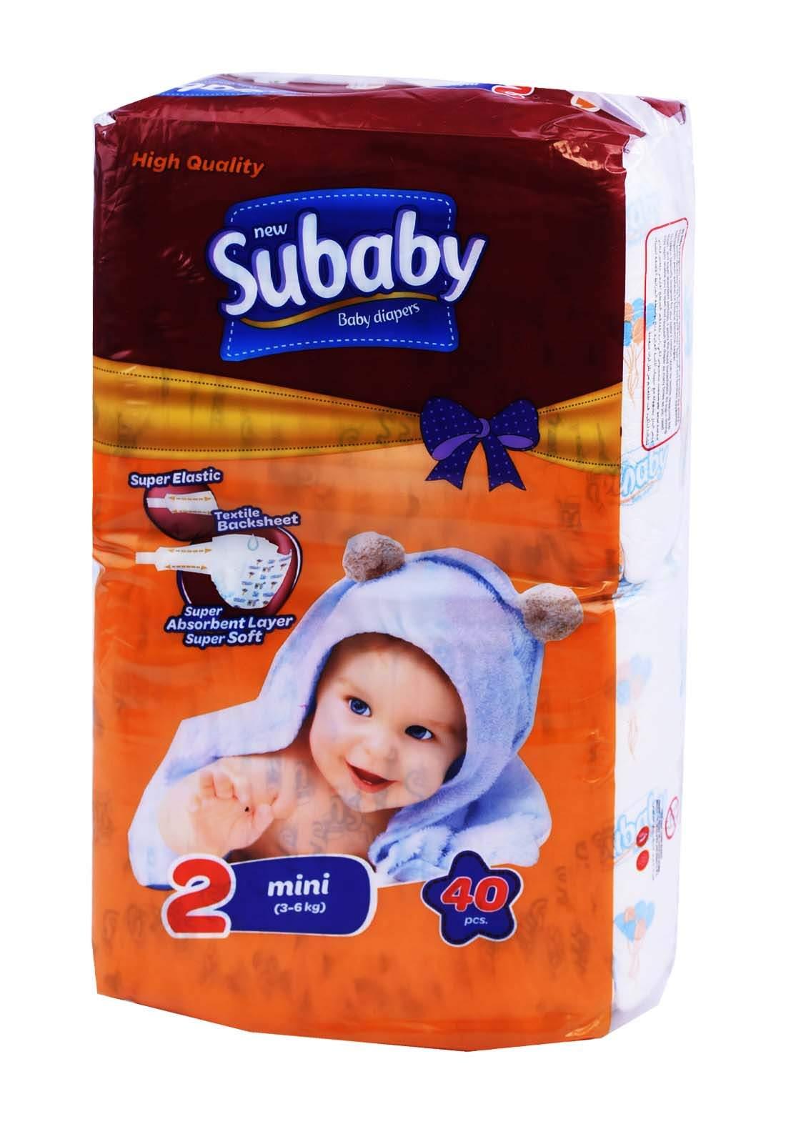 Subaaby 3-6 kg 40 Pcs حفاضات سو بيبي للاطفال رقم 2 عادي