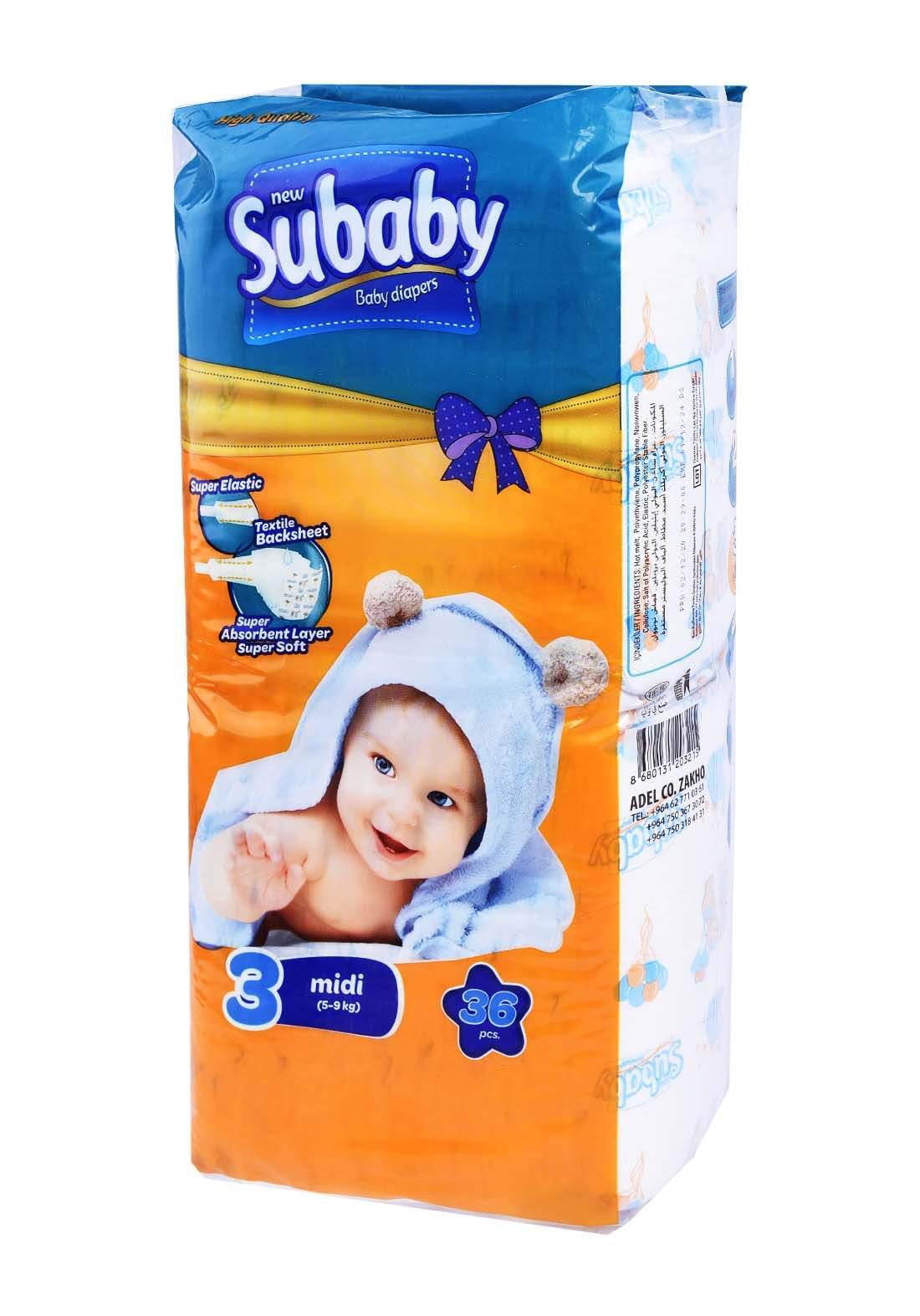 Subaaby 5-9 kg 36 Pcs حفاضات سو بيبي للاطفال رقم 3 عادي