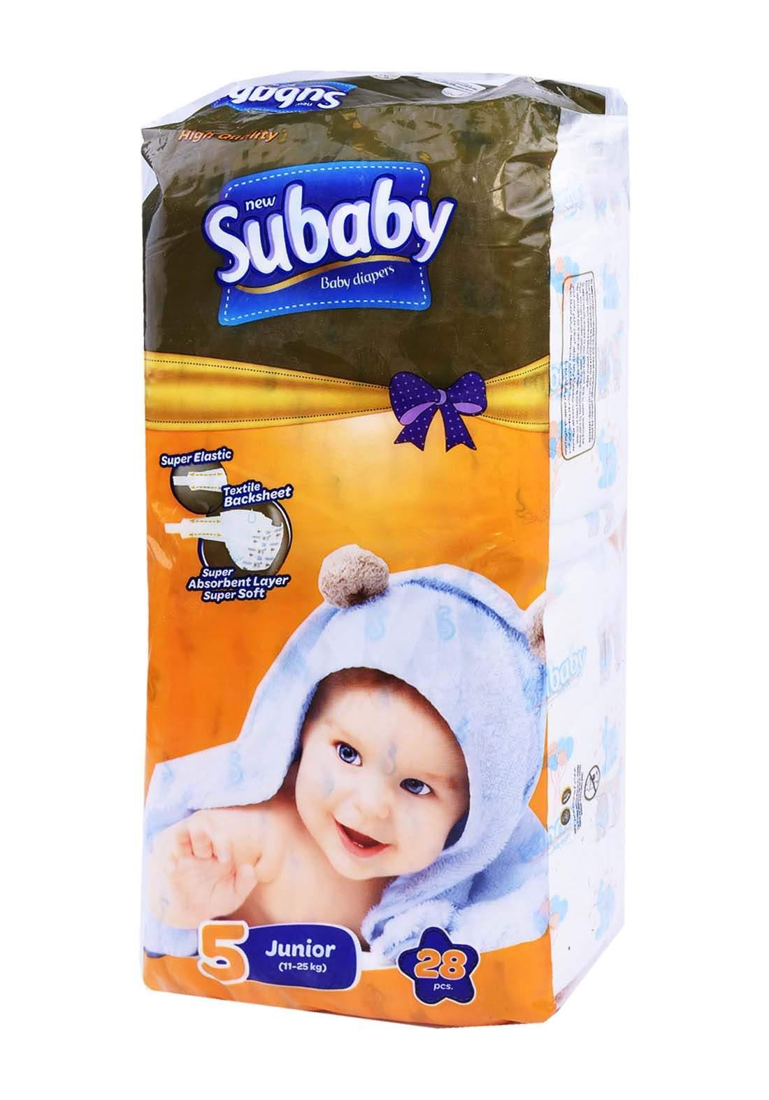 Subaaby 11-25 kg 28 Pcs حفاضات سو بيبي للاطفال رقم 5 عادي
