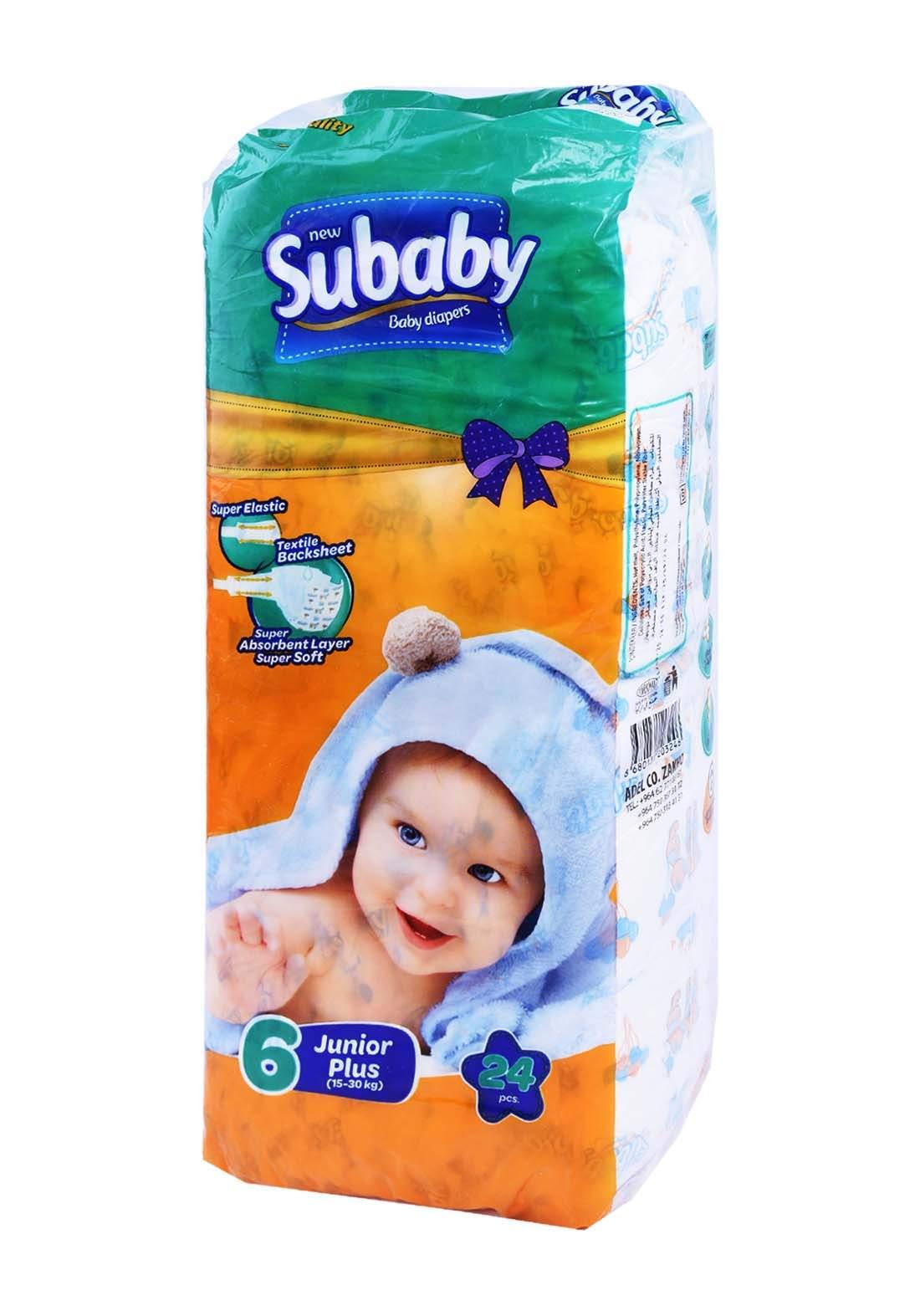 Subaaby 15-30 kg 24 Pcs حفاضات سو بيبي للاطفال رقم 6 عادي