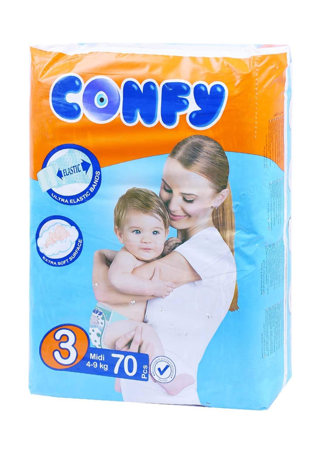 Confy 4-9 Kg 70 Pcs حفاضات  كونفي للاطفال عادي رقم 3