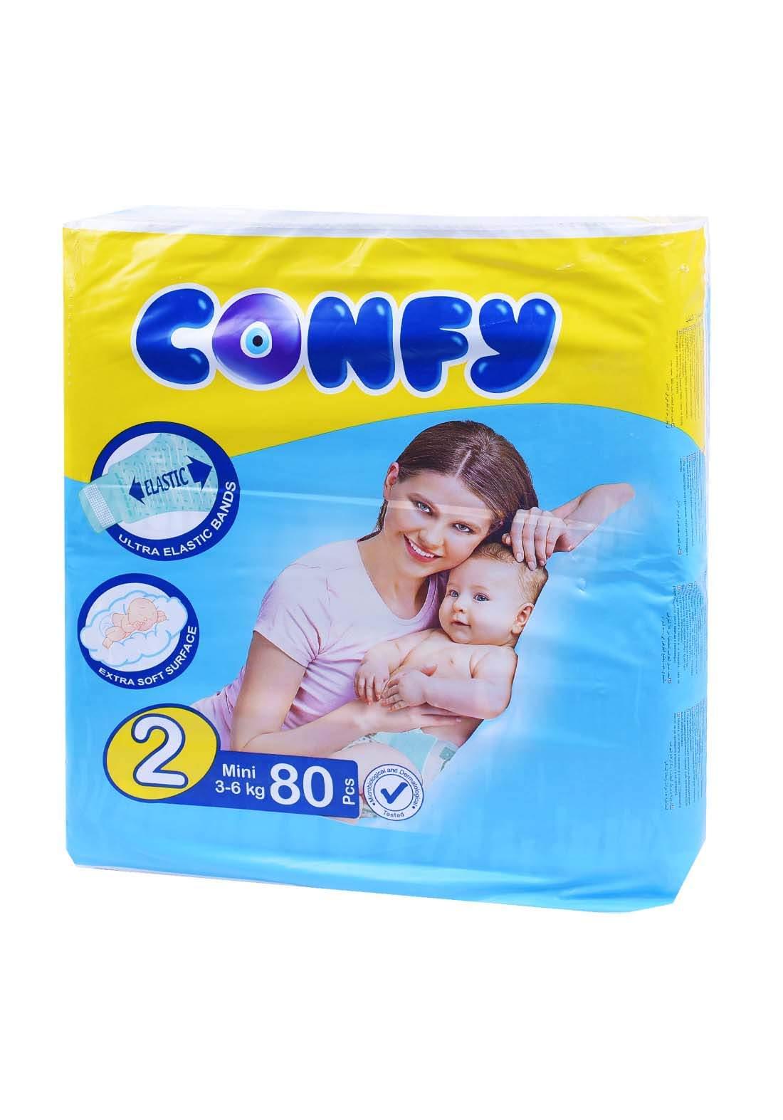 Confy 3-6 Kg 80 Pcs حفاضات  كونفي للاطفال عادي رقم 2