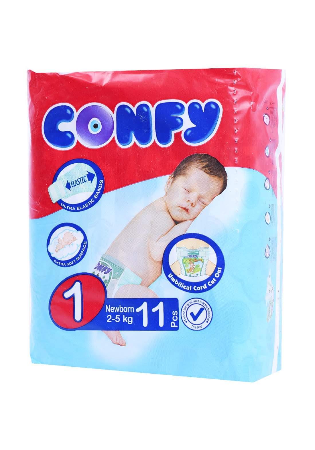 Confy 2-5 Kg 11 Pcs حفاضات  كونفي للاطفال عادي رقم 1