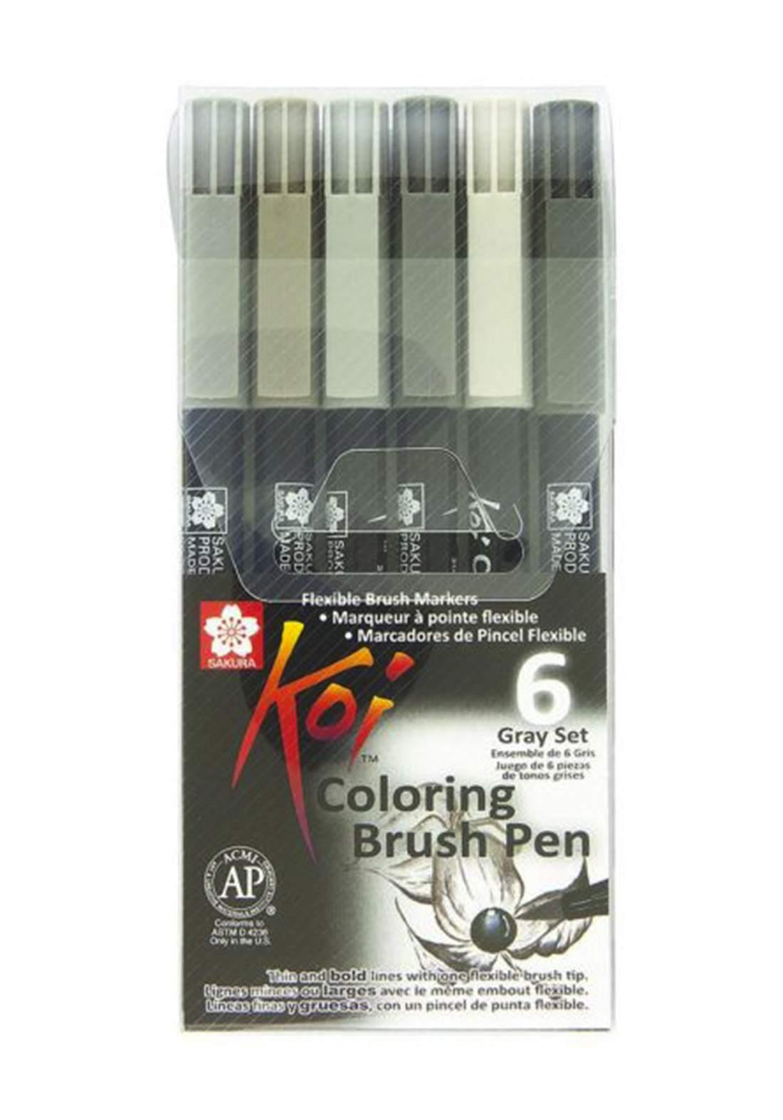 Sakura Koi Coloring Brush Pen 6 - Gray أقلام ماركر 6 الوان رصاصي