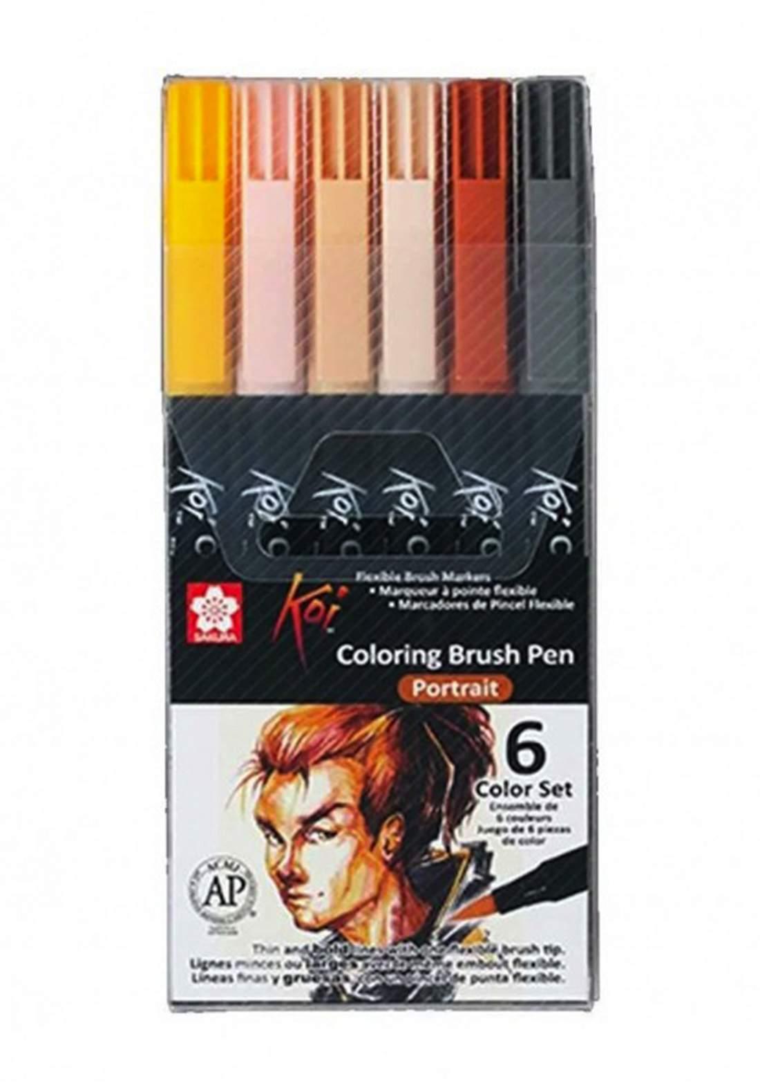 Sakura Koi Coloring Brush Pens 6 Portrait أقلام تلوين ماركر 6 أقلام