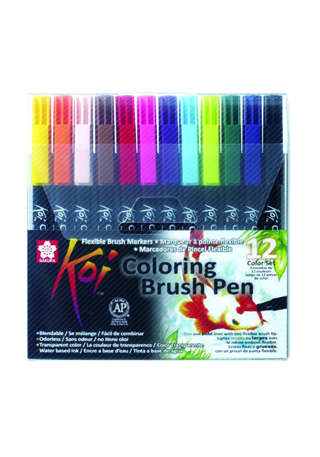 Sakura Koi 12 colors Coloring Brush Pen  اقلام أكريليك  12 لون