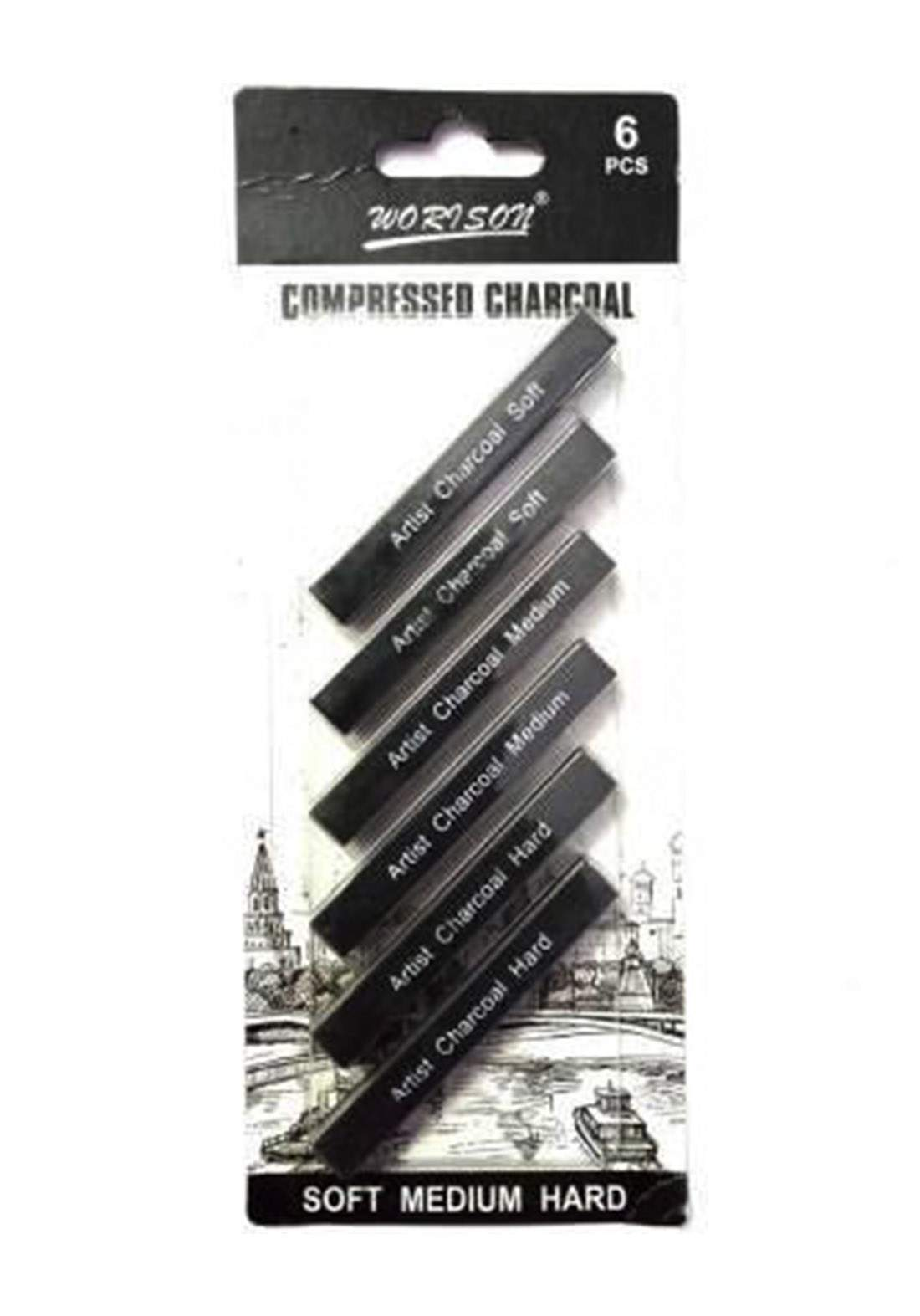 Charcoal Set 6 Pieces Black Color For Drawing سيت فحم للرسم 6 قطع اسود اللون