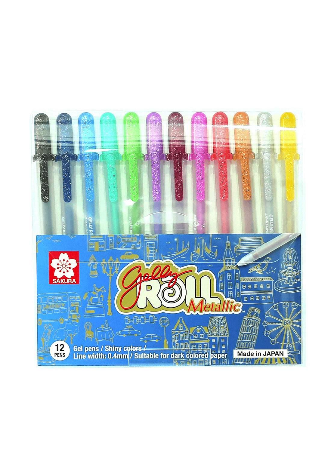 Sakura Gell Roll Metallic 12 colors أقلام تلوين معدنية لماعة 12 لون