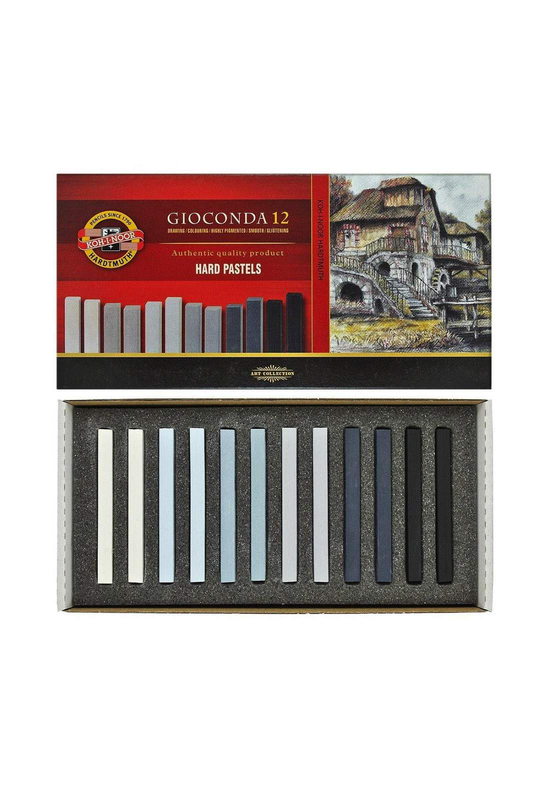 Koh-I-Noor Gioconda Pack of 12 Hard Chalks-Gray سيت طباشير باستيل 12 قطعة