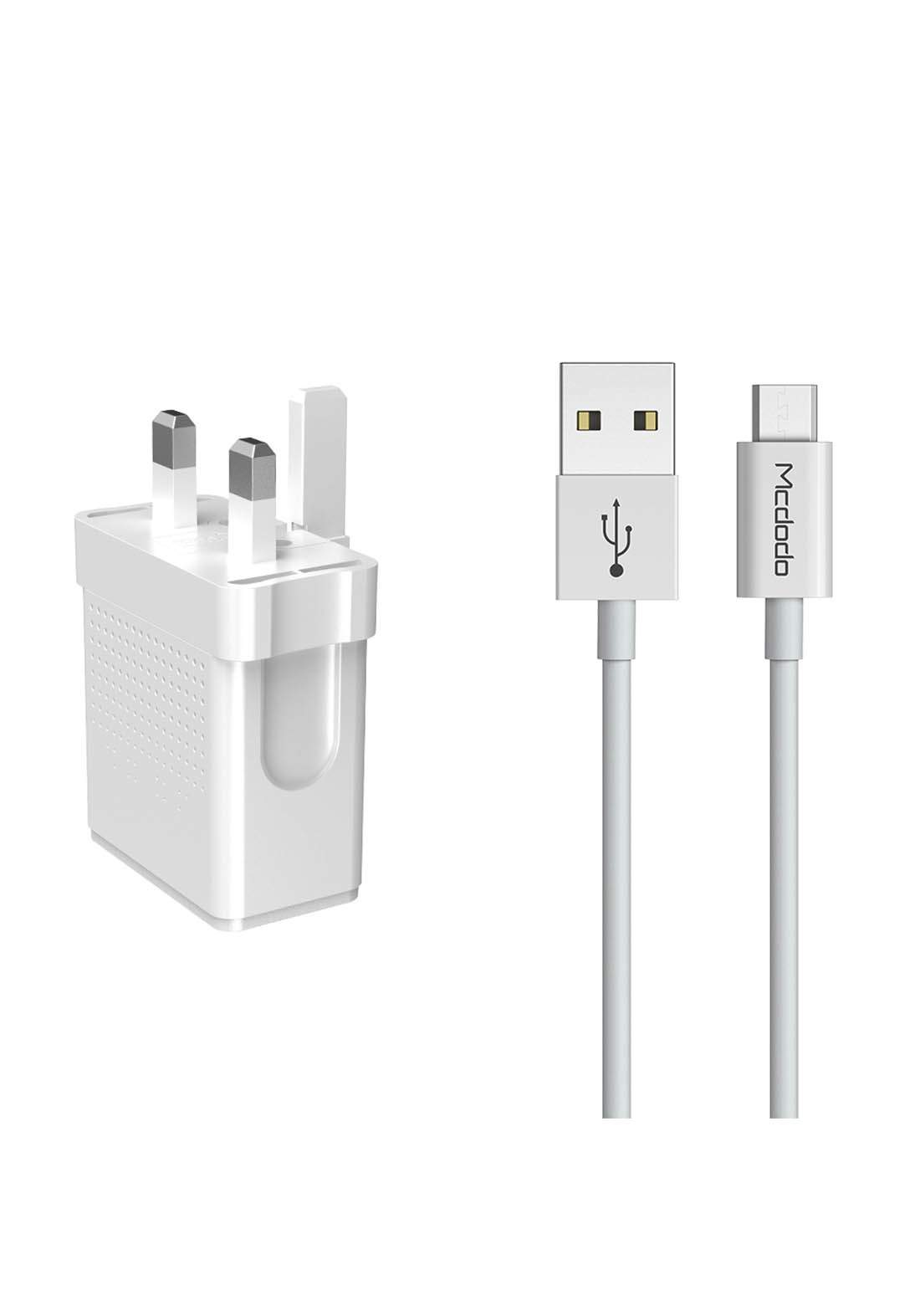 Mcdodo Dual USB Output Travel Charger Set with Micro Cable - White شاحن