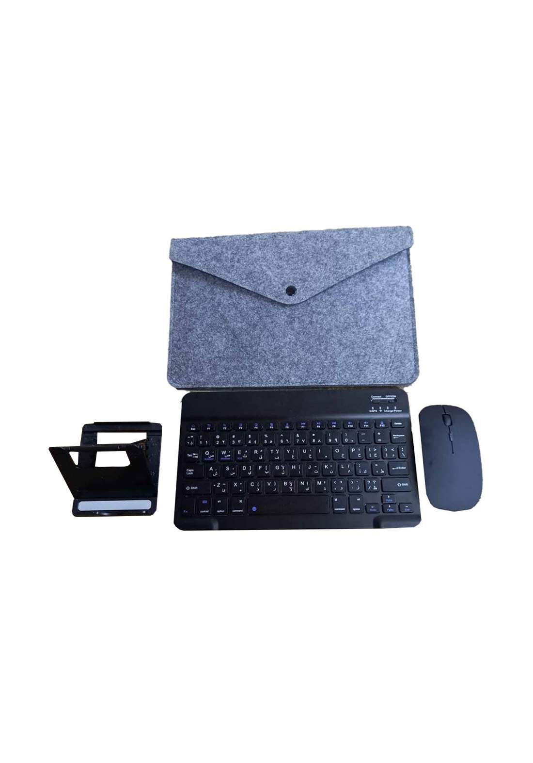 Set of  Wireless Keyboard Mouse Mobile Holder and Bag - Black سيت كيبورد وماوس لا سلكي