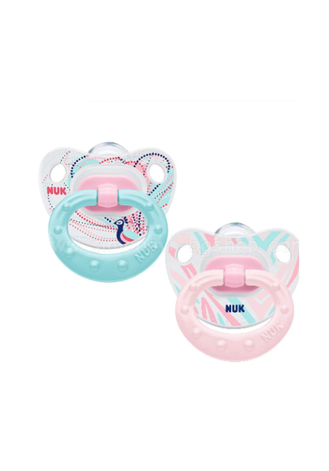 Nuk Classic Silicone Soothe Happy Days Pack of2   6–18 Months لهاية أطفال