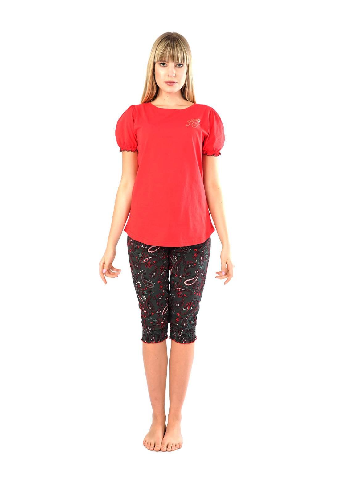 سيت برمودة نسائي احمر اللون من Enki