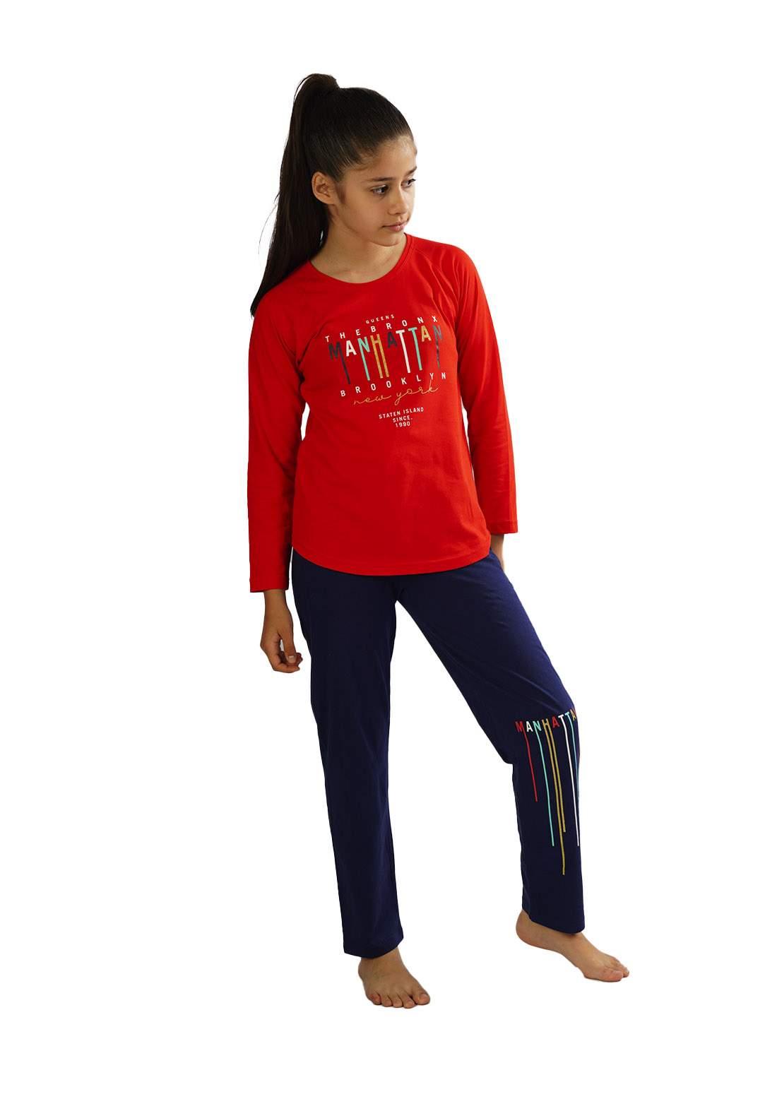 Enki 104361 سيت بجامة بناتي أحمر وأزرق أللون