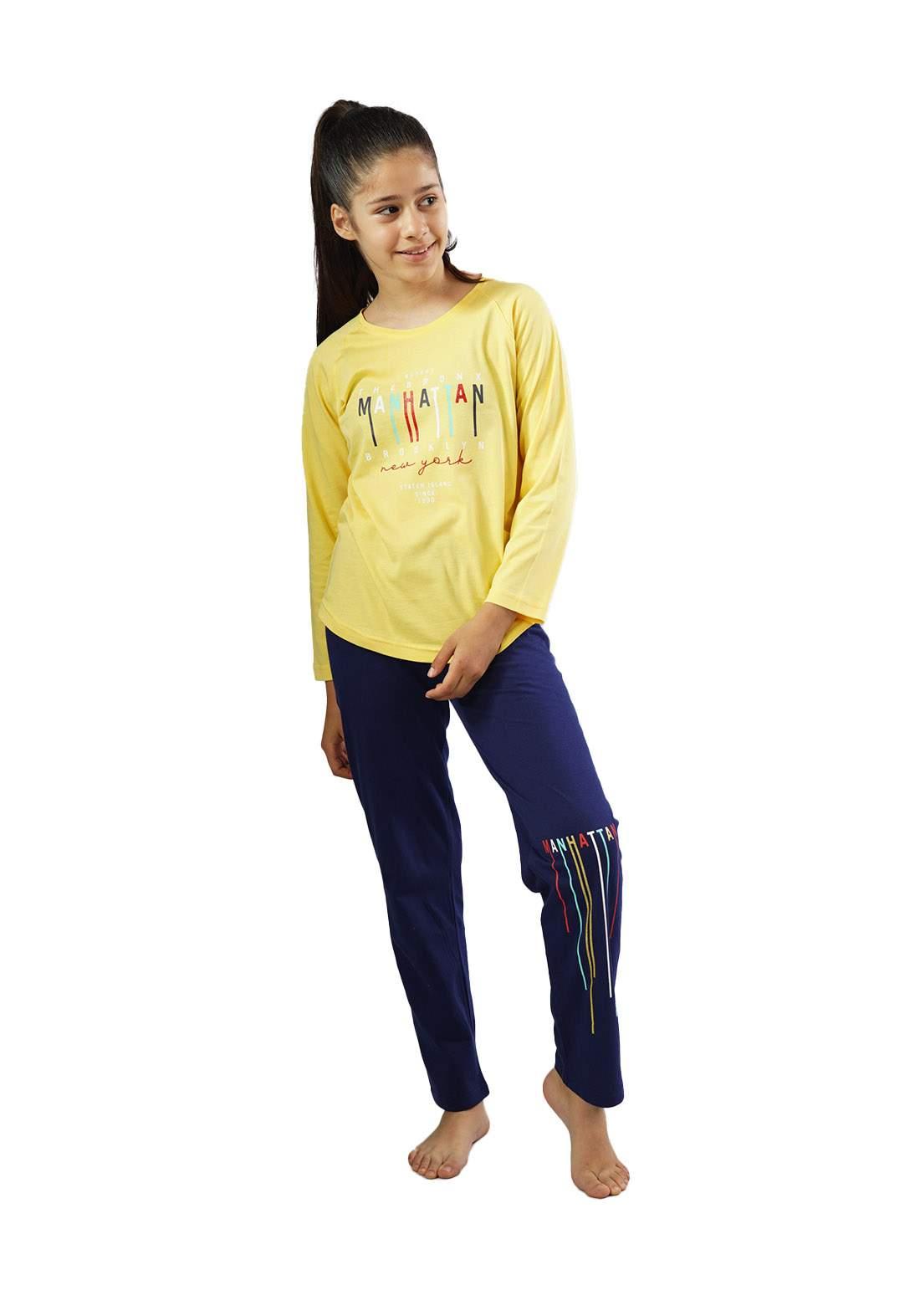 Enki 104361 سيت بجامة بناتي أصفر وأزرق أللون