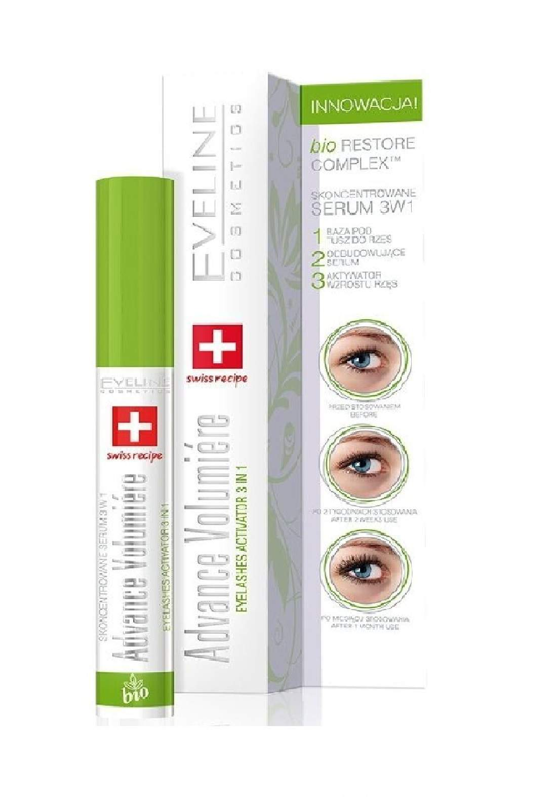 (095-0126)Eveline Concentrated Serum Mascara 3in1 advance volumiere 10ml مسكارا تطويل الرموش