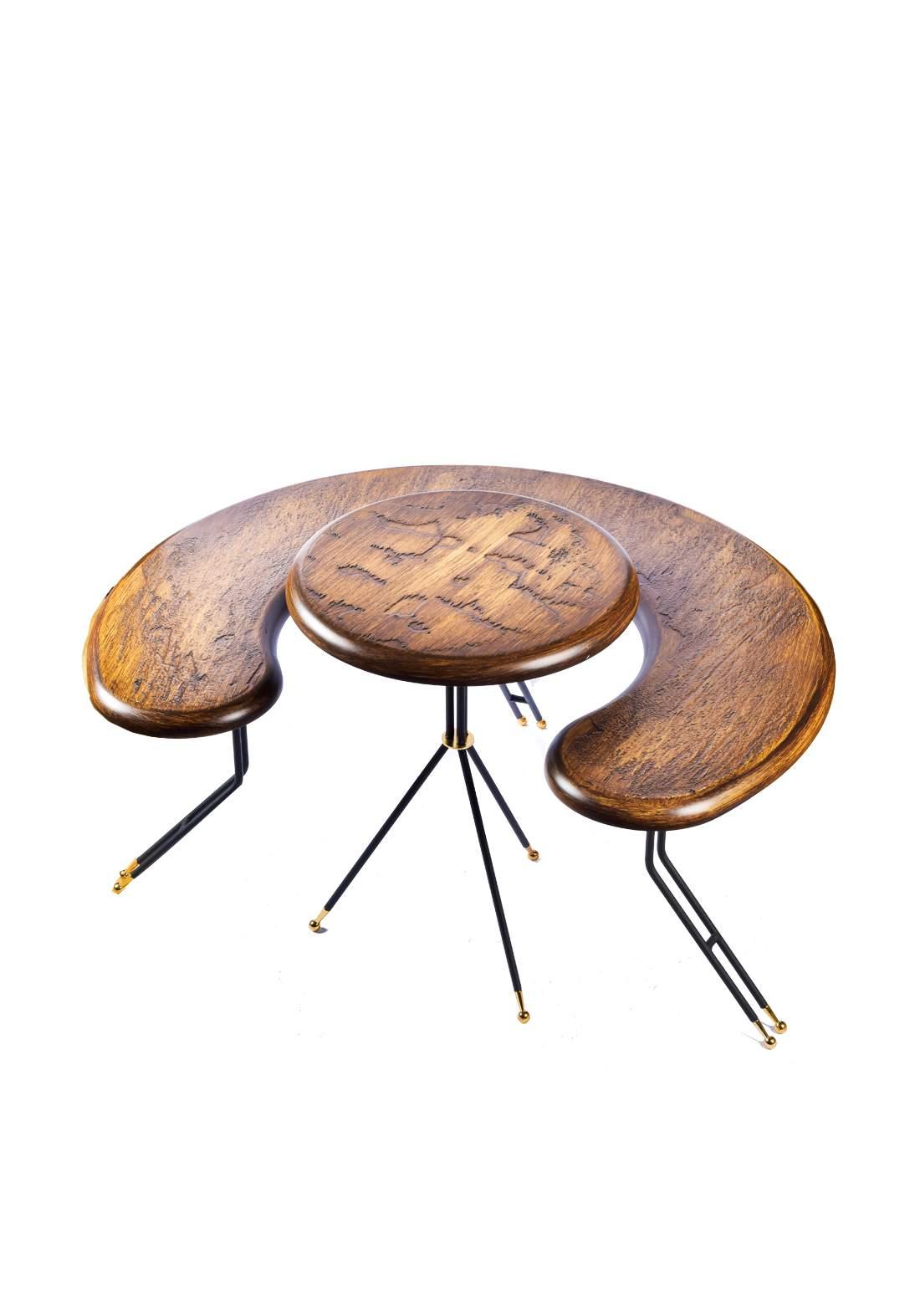 سيت ميز مع طبلة خشب طبيعي من ايوانكو