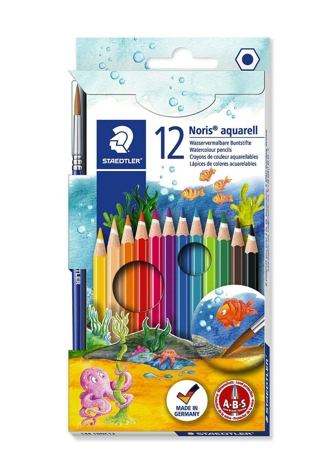 Staedtler 144 10NC12 - 12Pcs أقلام تلوين مائية + فرشاة