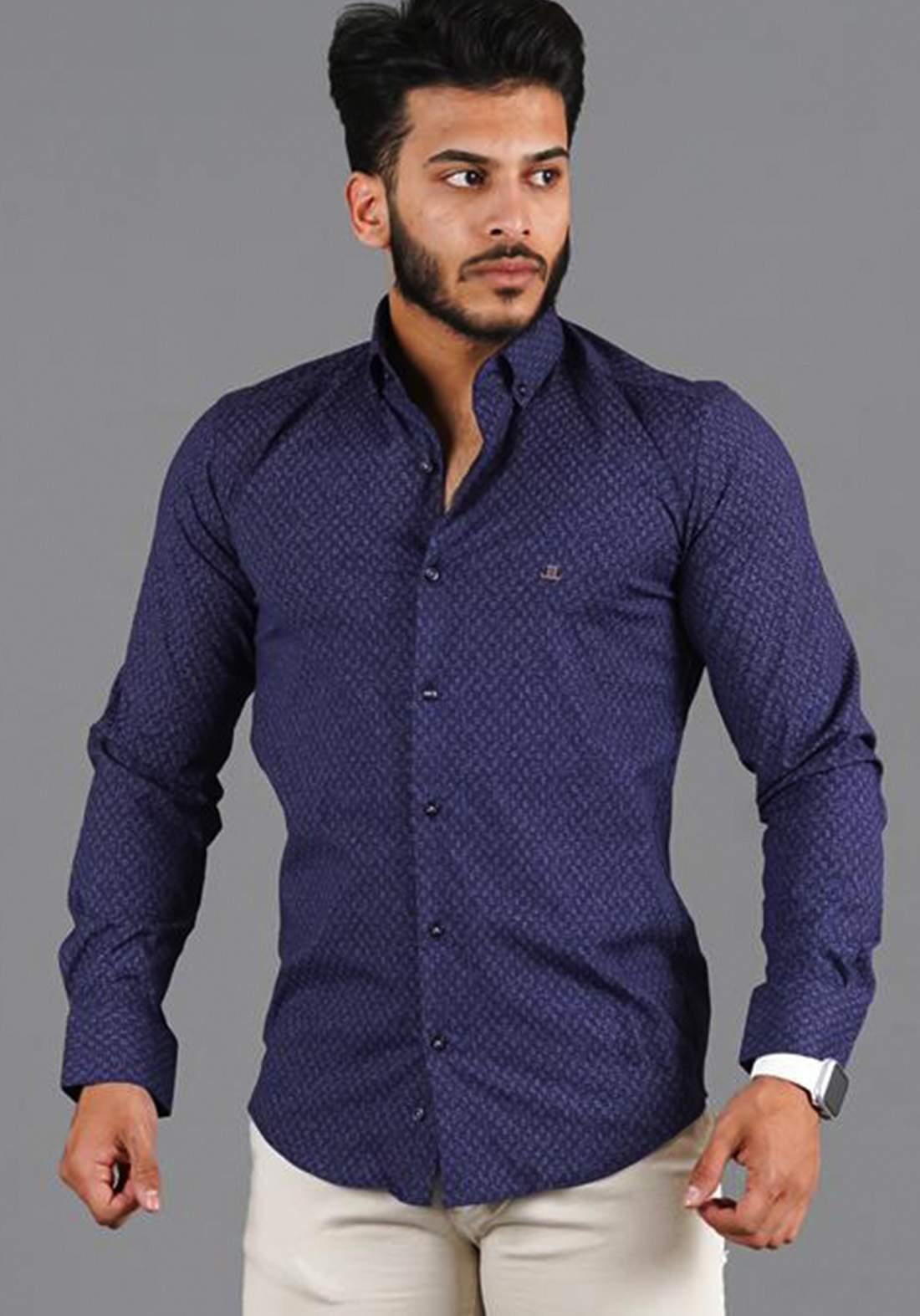 قميص رجالي بأكمام طويلة نيلي اللون