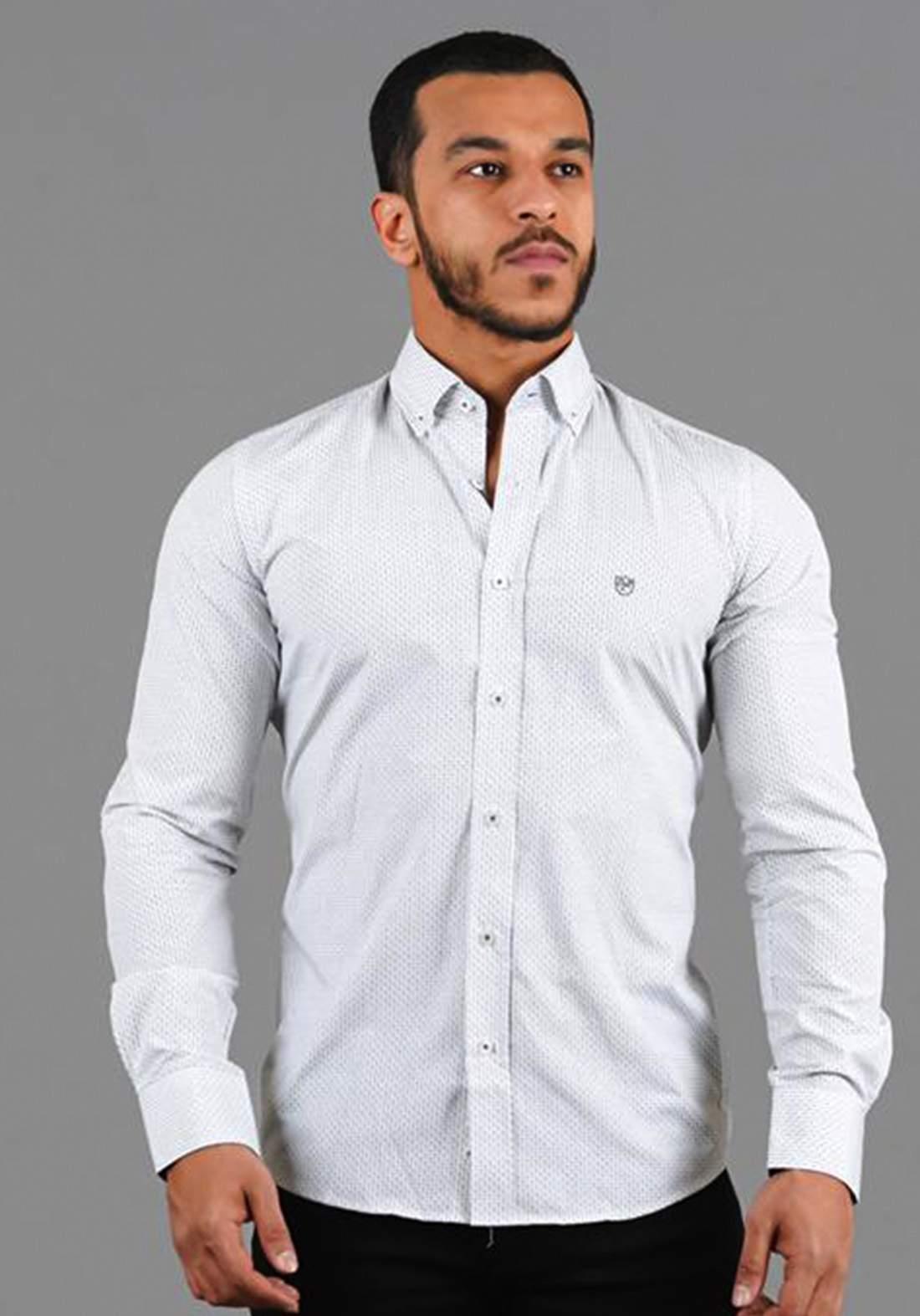 قميص رجالي بأكمام طويلة ابيض اللون