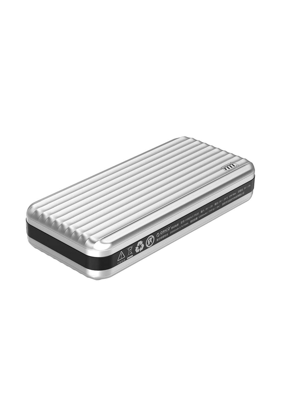 Orico TR20 Portable Power Bank with LED Indicator  - Silver شاحن محمول