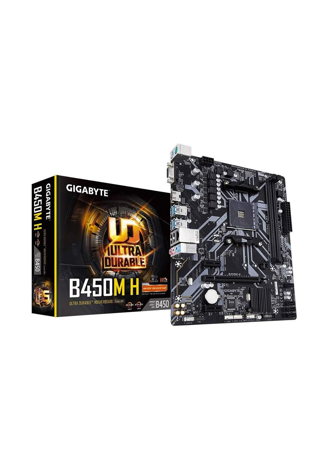 Gigabyte B450M H Ultra Durable Motherboard - Black لوحة الام