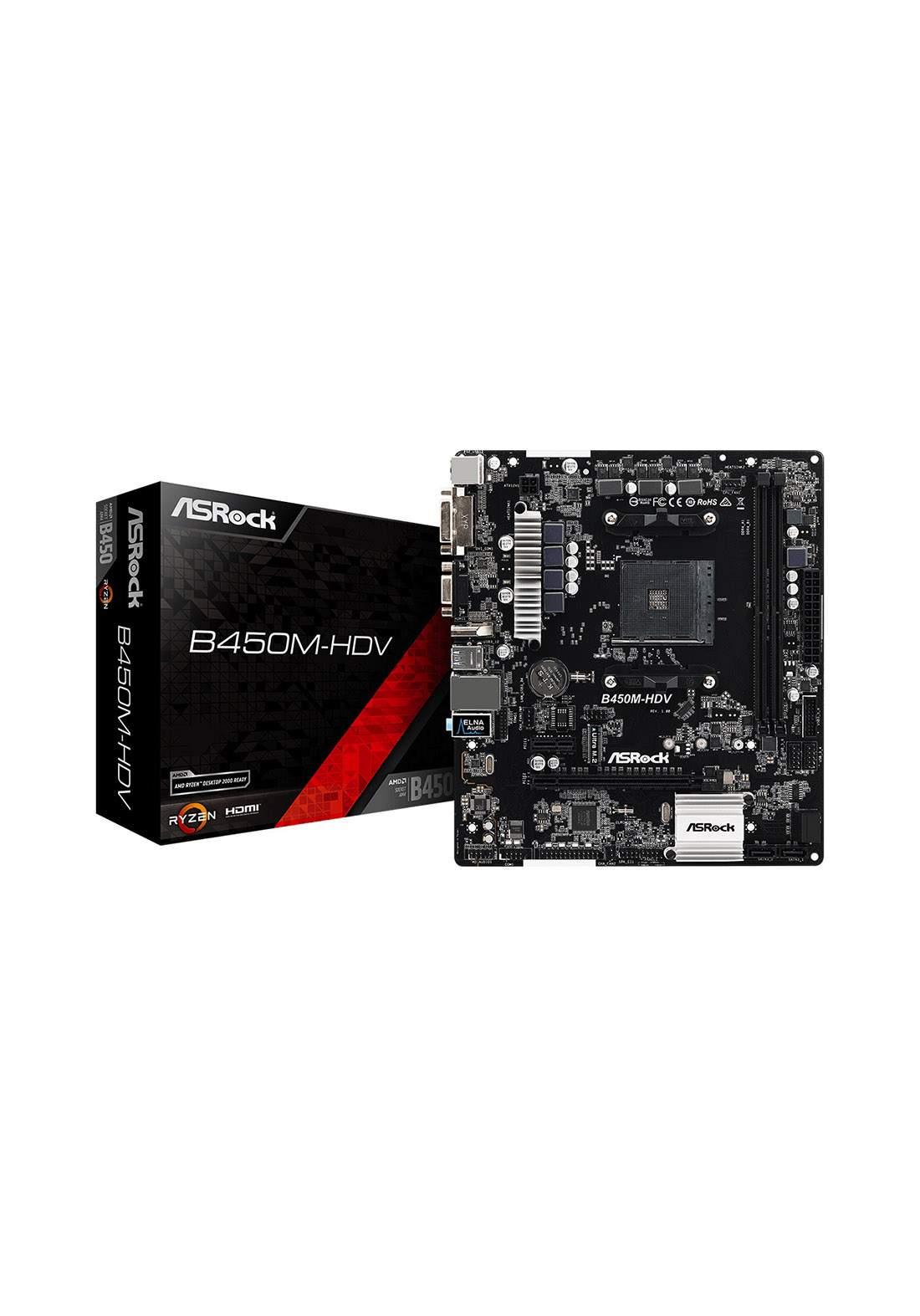 ASRock B450M-HDV Desktop Motherboard - Black لوحة الام