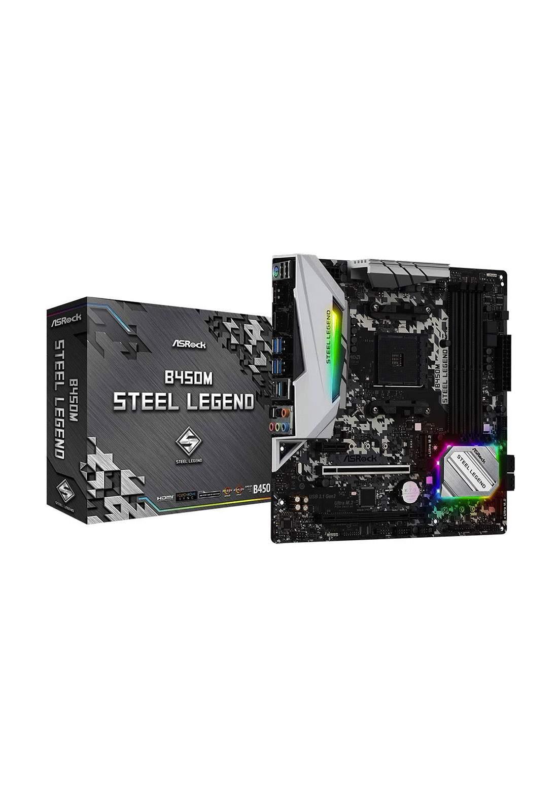 ASRock B450M Steel Legend AM4 AMD Motherboard  - Black لوحة الام