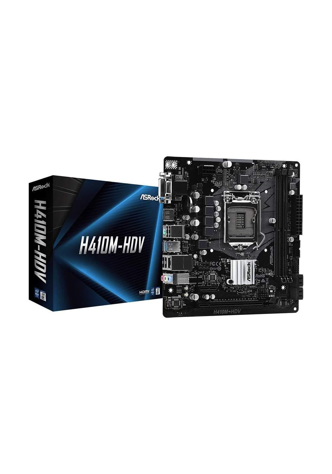 ASRock H410M-HDV 10th Gen DDR4 Motherboard - Black لوحة الام