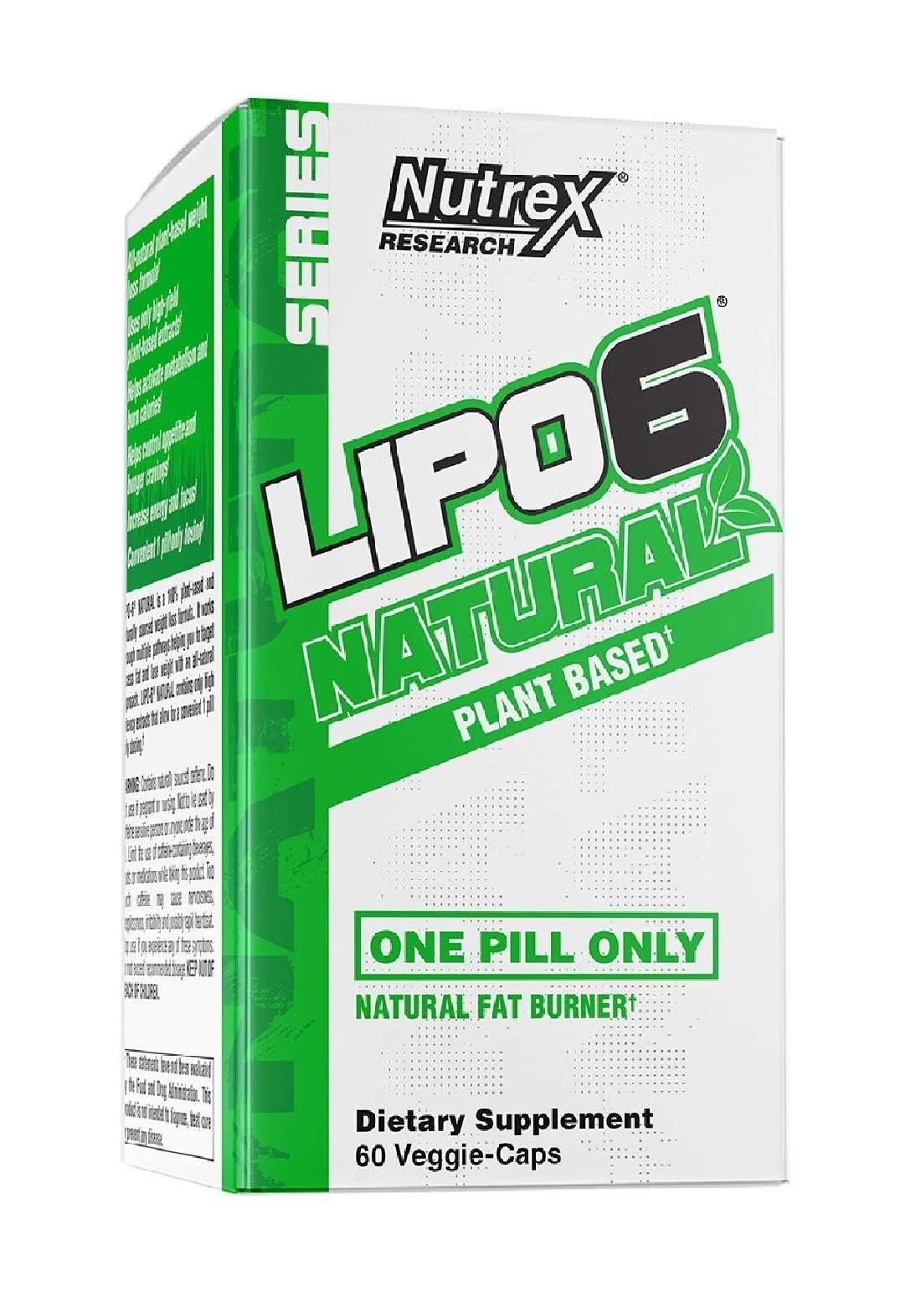 Nutrex Research Natural Series Lipo-6 Natural Fat Burner  Plant Based  60 Veggie-Caps مكمل غذائي نباتي لانقاص الوزن