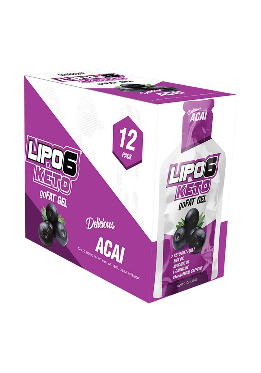 Nutrex Lipo-6 Keto go  Energy Gels for Low Carb Athletes Acai 12 Pcs جل طاقة منخفض الكارب