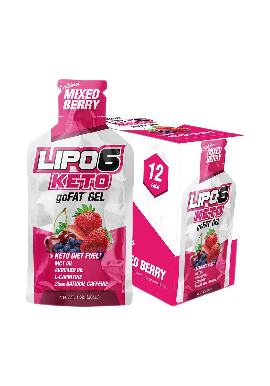 Nutrex Lipo-6 Keto go  Energy Gels for Low Carb Athletes Mixed Berry 12 Pcs جل طاقة منخفض الكارب