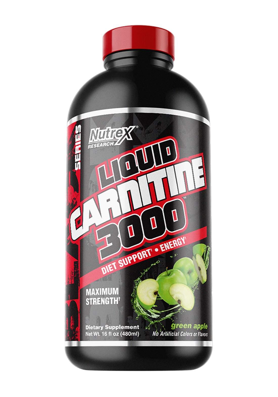 Nutrex Research Liquid Carnitine 3000 Diet Support Green Apple 480 ML مكمل غذائي لانقاص الوزن