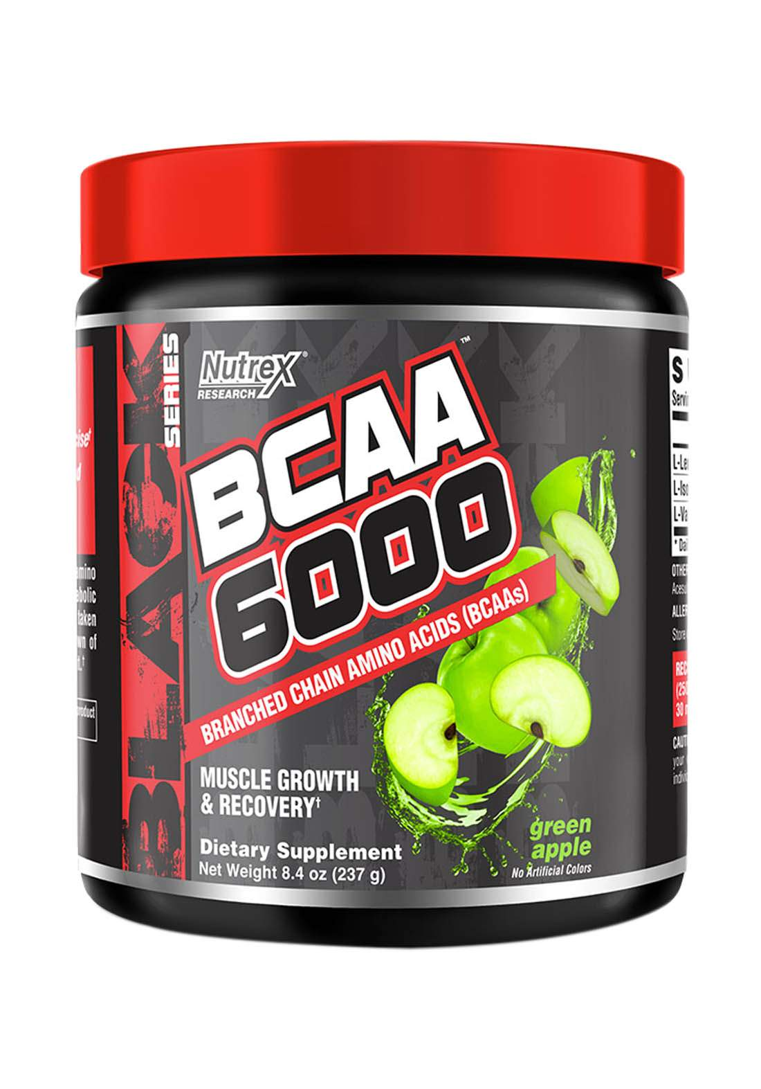 Nutrex Research BCAA 6000 Muscles Growth & Recovery Green Apple 30 Serv 255 Ml مكمل احماض امينية