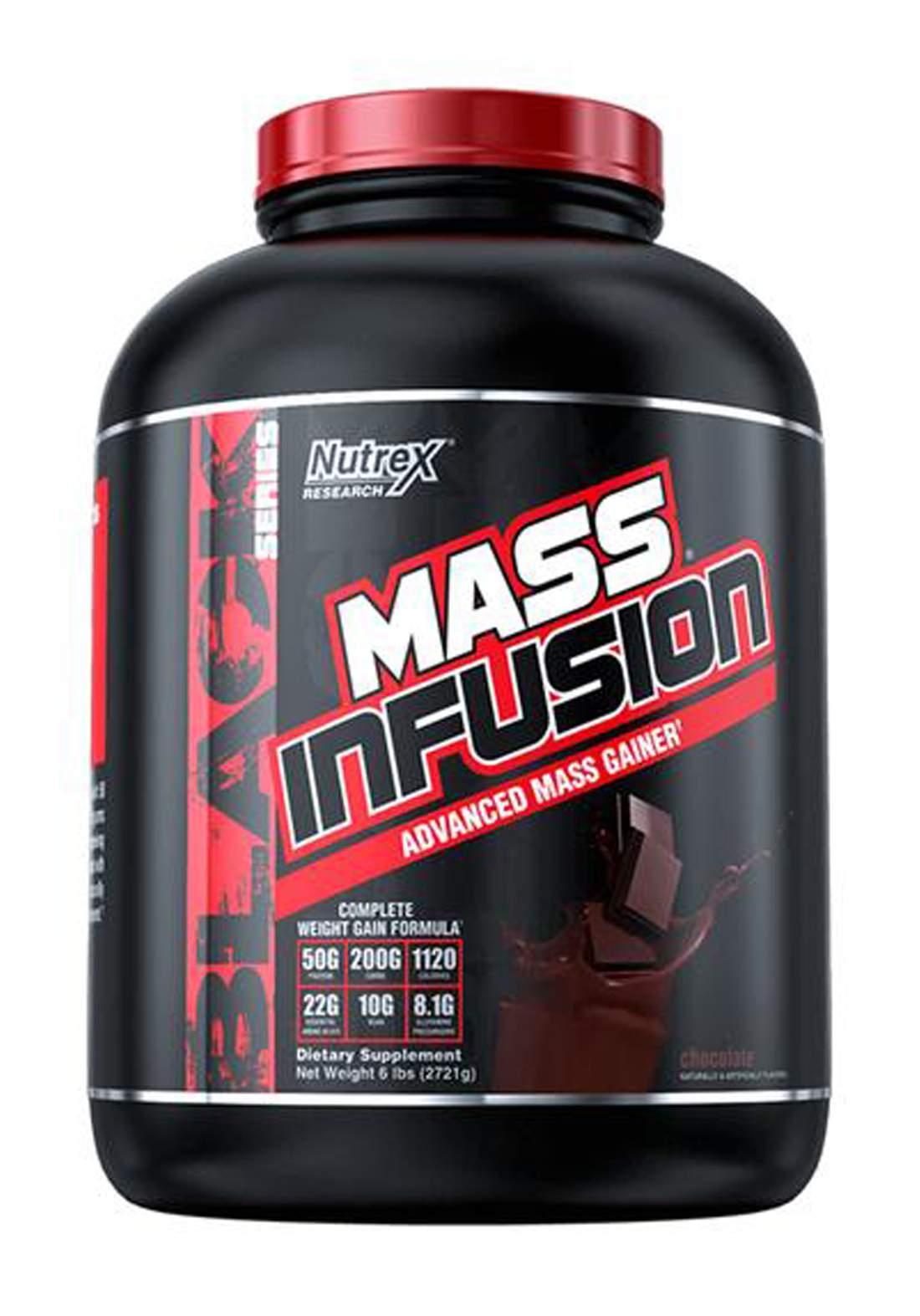 Nutrex Mass Infusion Advanced Mass Gainer - 2721 kg 6 LB 7 serving(Chocolate) Can مسحوق بروتين لزيادة الوزن