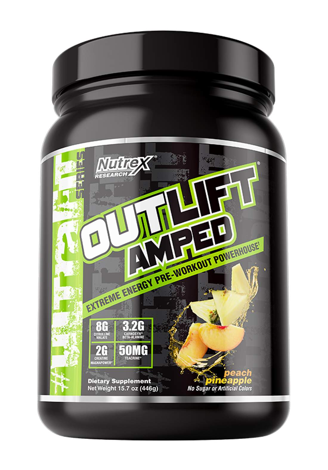 Nutrex Outlift Amped Extreme Energy Pre-Workout Peach Pineapple 20 Servings   مكمل غذائي