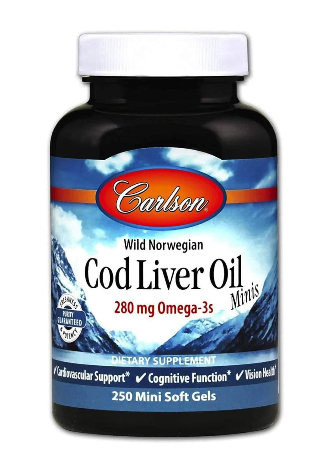 Carlson Labs Cod Liver Oil (280mg)  250 Minis Softgels فيتامين زيت كبد الحوت 250 كبسولة