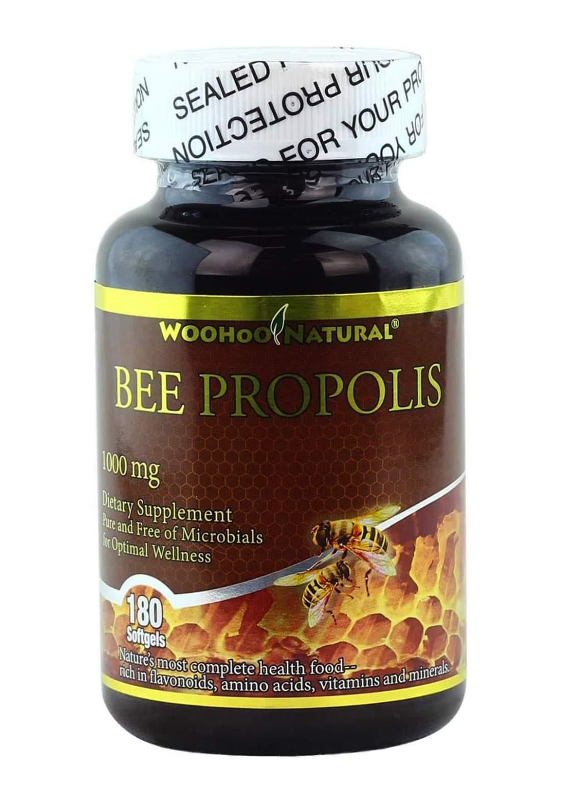 Woohoo Natural Bee Propolis 500mg  180 Capsules فيتامينات